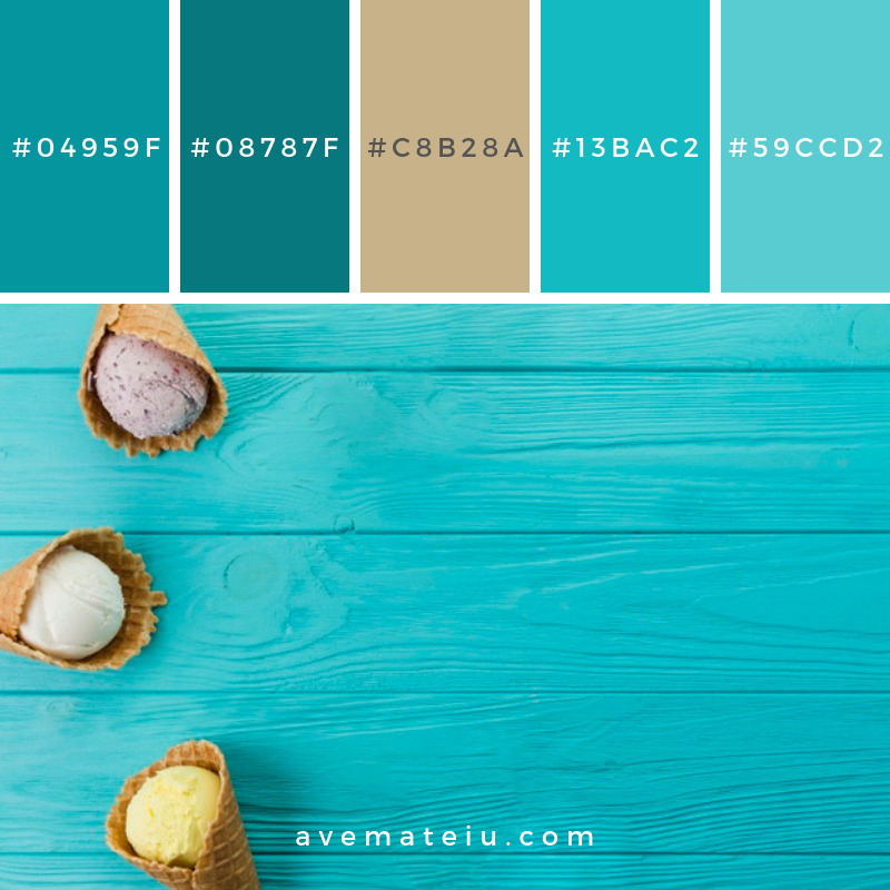 Ice cream cones of different flavors. Color Palette #216 - Color combination, Color pallets, Color palettes, Color scheme, Color inspiration, Colour Palettes, Art, Inspiration, Vintage, Bright, Blue, Warm, Dark, Design, Yellow, Green, Grey, Red, Purple, Rustic, Fall, Autumn, Winter, Spring 2019, Nature, Spring, Summer, Flowers, Sunset, Sunrise, Pantone https://avemateiu.com/color-palettes/