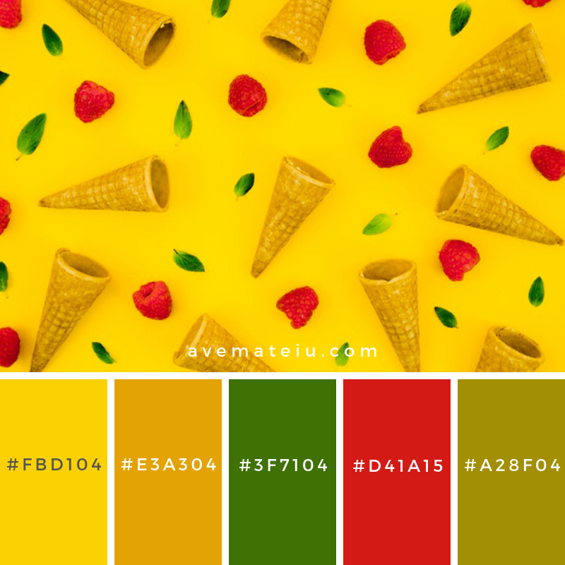 Creative pattern with raspberry and cornets. Color Palette #218 - Color combination, Color pallets, Color palettes, Color scheme, Color inspiration, Colour Palettes, Art, Inspiration, Vintage, Bright, Blue, Warm, Dark, Design, Yellow, Green, Grey, Red, Purple, Rustic, Fall, Autumn, Winter, Spring 2019, Nature, Spring, Summer, Flowers, Sunset, Sunrise, Pantone https://avemateiu.com/color-palettes/