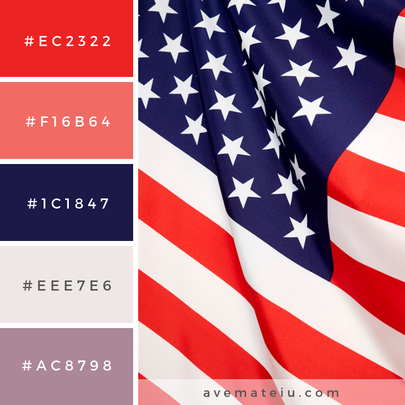 4th of july independence day. Color Palette #219 - Color combination, Color pallets, Color palettes, Color scheme, Color inspiration, Colour Palettes, Art, Inspiration, Vintage, Bright, Blue, Warm, Dark, Design, Yellow, Green, Grey, Red, Purple, Rustic, Fall, Autumn, Winter, Spring 2019, Nature, Spring, Summer, Flowers, Sunset, Sunrise, Pantone https://avemateiu.com/color-palettes/