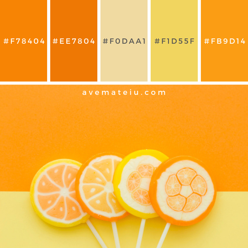 High angle view of citrus fruit candies on yellow and orange background. Color Palette #220 - Color combination, Color pallets, Color palettes, Color scheme, Color inspiration, Colour Palettes, Art, Inspiration, Vintage, Bright, Blue, Warm, Dark, Design, Yellow, Green, Grey, Red, Purple, Rustic, Fall, Autumn, Winter, Spring 2019, Nature, Spring, Summer, Flowers, Sunset, Sunrise, Pantone https://avemateiu.com/color-palettes/