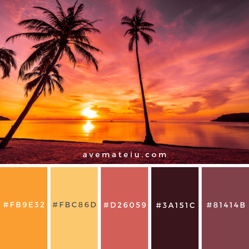 At sunset time on the tropical beach and sea with coconut palm tree. Color Palette #226 - Color combination, Color pallets, Color palettes, Color scheme, Color inspiration, Colour Palettes, Art, Inspiration, Vintage, Bright, Blue, Warm, Dark, Design, Yellow, Green, Grey, Red, Purple, Rustic, Fall, Autumn, Winter, Spring 2019, Nature, Spring, Summer, Flowers, Sunset, Sunrise, Pantone https://avemateiu.com/color-palettes/