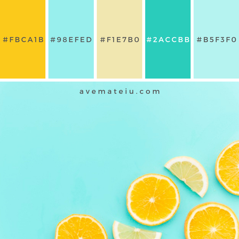 Citrus fruits slices on table. Color Palette #228 - Color combination, Color pallets, Color palettes, Color scheme, Color inspiration, Colour Palettes, Abstract, Design, Background, Food, Summer, Blue, Table, Fruit, Orange, Fruits, Yellow, Lemon, Bright, Flat lay, Horizontal, Citrus, Slice