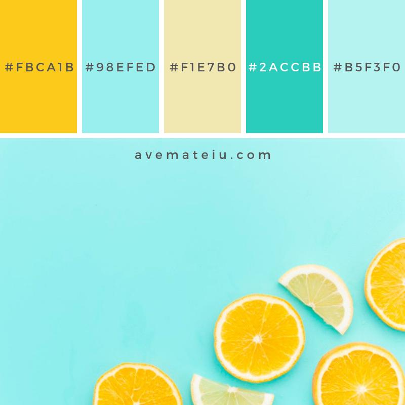 Citrus fruits slices on table. Color Palette #228 - Color combination, Color pallets, Color palettes, Color scheme, Color inspiration, Colour Palettes, Abstract, Design, Background, Food, Summer, Blue, Table, Fruit, Orange, Fruits, Yellow, Lemon, Bright, Flat lay, Horizontal, Citrus, Slice