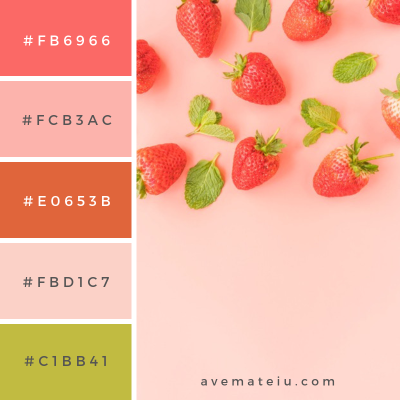 Ripe strawberries and mint leaves. Color Palette #231 - Color combination, Color pallets, Color palettes, Color scheme, Color inspiration, Colour Palettes, Abstract, Design, Background, Food, Summer, Leaf, Pink, Leaves, Colorful, Pink background, Strawberry, Herb, Mint, Berry, Greenery, Strawberries, Flat lay