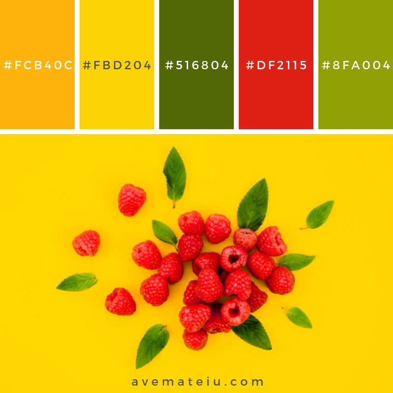 Sweet raspberries with leaves on bright surface. Color Palette #232 - Color combination, Color pallets, Color palettes, Color scheme, Color inspiration, Colour Palettes, Abstract, Design, Background, Food, Fruit, Leaves, Yellow, Yellow background, Flat, Mint, Top view, Berry, Flat lay, Raspberry, Surface, Composition, Raspberries