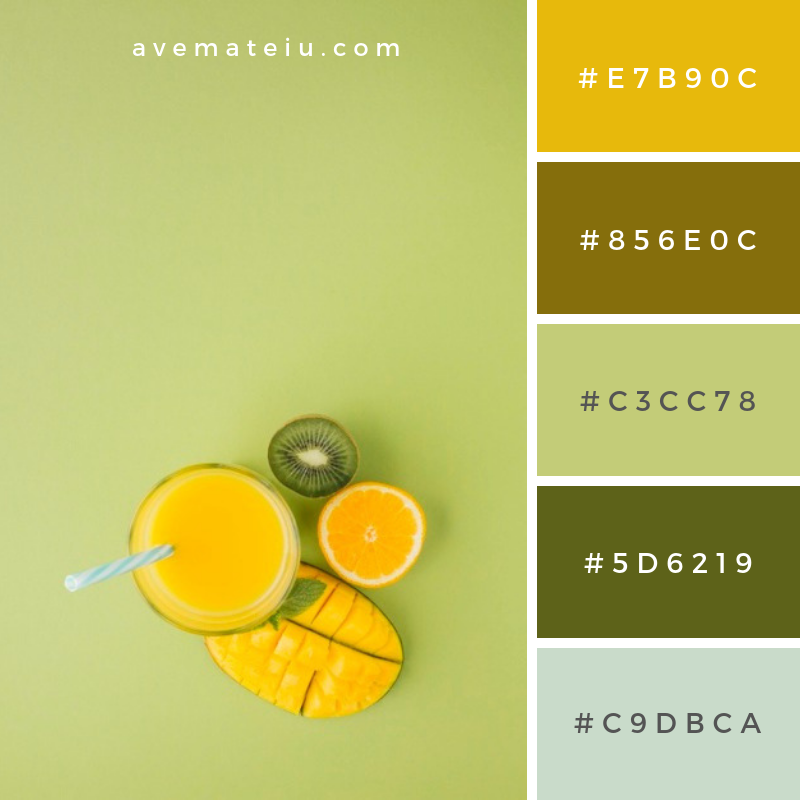 Top view yellow smoothie with copy space. Color Palette #233 - Color combination, Color pallets, Color palettes, Color scheme, Color inspiration, Colour Palettes, Abstract, Design, Summer, Fruit, Health, Space, Orange, Colorful, Yellow, Juice, Cocktail, Mango, Fresh, Top view, Smoothie, Fruit juice, Beverage, Kiwi, Delicious, Protein, Copy, Citrus, Topview, Assorted