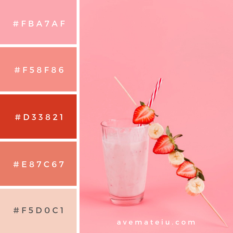 Strawberry banana beverage in glass. Color Palette #235 - Color combination, Color pallets, Color palettes, Color scheme, Color inspiration, Colour Palettes, Abstract, Design, Background, Abstract, Pink, Fruit, Space, Milk, Tropical, Pink background, Glass, Drink, Organic, Cocktail, Natural, Banana, Strawberry, Minimal, Yogurt Milkshake, Smoothie, Straw, Berries, Exotic