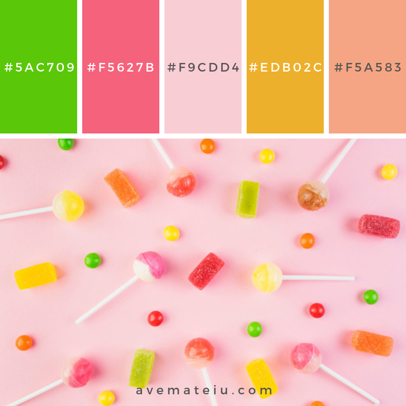 High angle view of colorful candies and lollipops on pink surface. Color Palette #236 - Color combination, Color pallets, Color palettes, Color scheme, Color inspiration, Colour Palettes, Art, Inspiration, Vintage, Bright, Blue, Warm, Dark, Design, Yellow, Green, Grey, Red, Purple, Rustic, Fall, Autumn, Winter, Spring 2019, Nature, Spring, Summer, Flowers, Sunset, Sunrise, Pantone https://avemateiu.com/color-palettes/