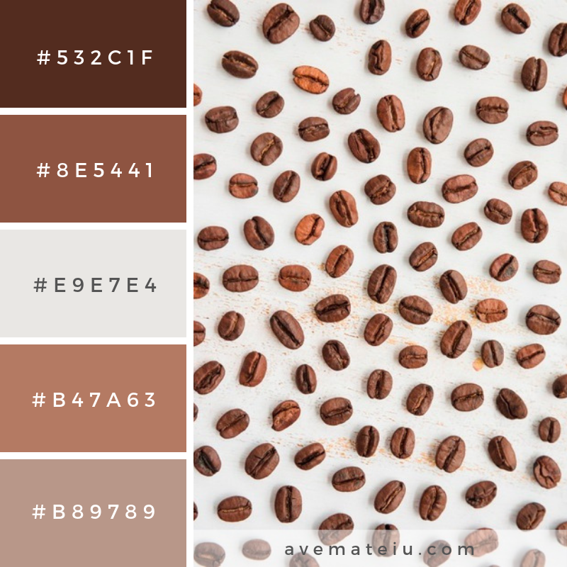 Top view coffee grains. Color Palette #239 - Color combination, Color pallets, Color palettes, Color scheme, Color inspiration, Colour Palettes, Art, Inspiration, Vintage, Bright, Blue, Warm, Dark, Design, Yellow, Green, Grey, Red, Purple, Rustic, Fall, Autumn, Winter, Spring 2019, Nature, Spring, Summer, Flowers, Sunset, Sunrise, Pantone https://avemateiu.com/color-palettes/