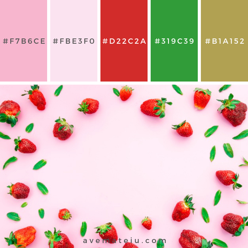 Ripe red strawberries and green leaves. Color Palette #240 - Color combination, Color pallets, Color palettes, Color scheme, Color inspiration, Colour Palettes, Art, Inspiration, Vintage, Bright, Blue, Warm, Dark, Design, Yellow, Green, Grey, Red, Purple, Rustic, Fall, Autumn, Winter, Spring 2019, Nature, Spring, Summer, Flowers, Sunset, Sunrise, Pantone https://avemateiu.com/color-palettes/