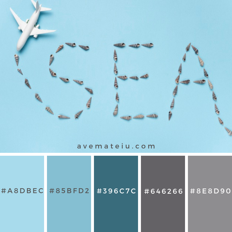 Writing sea with small shells Color Palette #242 - Color combination, Color pallets, Color palettes, Color scheme, Color inspiration, Colour Palettes, Art, Inspiration, Vintage, Bright, Blue, Warm, Dark, Design, Yellow, Green, Grey, Red, Purple, Rustic, Fall, Autumn, Winter, Spring 2019, Nature, Spring, Summer, Flowers, Sunset, Sunrise, Pantone https://avemateiu.com/color-palettes/