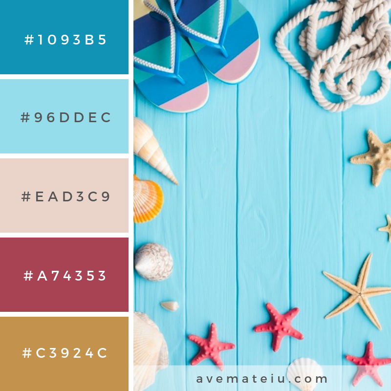 Flat lay summer vacation concept with copy space Color Palette #243 - Color combination, Color pallets, Color palettes, Color scheme, Color inspiration, Colour Palettes, Art, Inspiration, Vintage, Bright, Blue, Warm, Dark, Design, Yellow, Green, Grey, Red, Purple, Rustic, Fall, Autumn, Winter, Spring 2019, Nature, Spring, Summer, Flowers, Sunset, Sunrise, Pantone https://avemateiu.com/color-palettes/