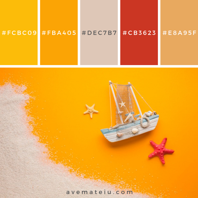 Flat lay boat with beach concept Color Palette #244 - Color combination, Color pallets, Color palettes, Color scheme, Color inspiration, Colour Palettes, Art, Inspiration, Vintage, Bright, Blue, Warm, Dark, Design, Yellow, Green, Grey, Red, Purple, Rustic, Fall, Autumn, Winter, Summer 2019, Nature, Spring, Summer, Flowers, Sunset, Sunrise, Pantone https://avemateiu.com/color-palettes/