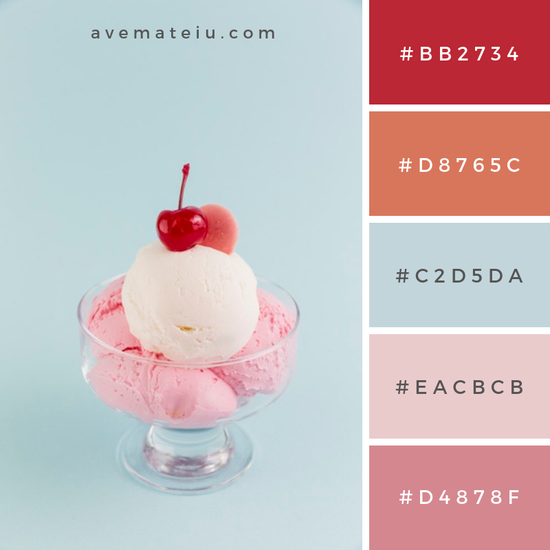 Sweet ice cream in bowl on light background Color Palette #245 - Color combination, Color pallets, Color palettes, Color scheme, Color inspiration, Colour Palettes, Art, Inspiration, Vintage, Bright, Blue, Warm, Dark, Design, Yellow, Green, Grey, Red, Purple, Rustic, Fall, Autumn, Winter, Summer 2019, Nature, Spring, Summer, Flowers, Sunset, Sunrise, Pantone https://avemateiu.com/color-palettes/