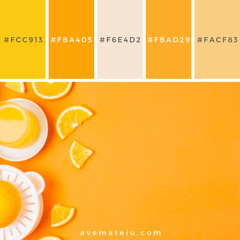 Flat lay orange juice on orange background with copy space Color Palette #248 - Color combination, Color pallets, Color palettes, Color scheme, Color inspiration, Colour Palettes, Art, Inspiration, Vintage, Bright, Blue, Warm, Dark, Design, Yellow, Green, Grey, Red, Purple, Rustic, Fall, Autumn, Winter, Summer 2019, Nature, Spring, Summer, Flowers, Sunset, Sunrise, Pantone https://avemateiu.com/color-palettes/