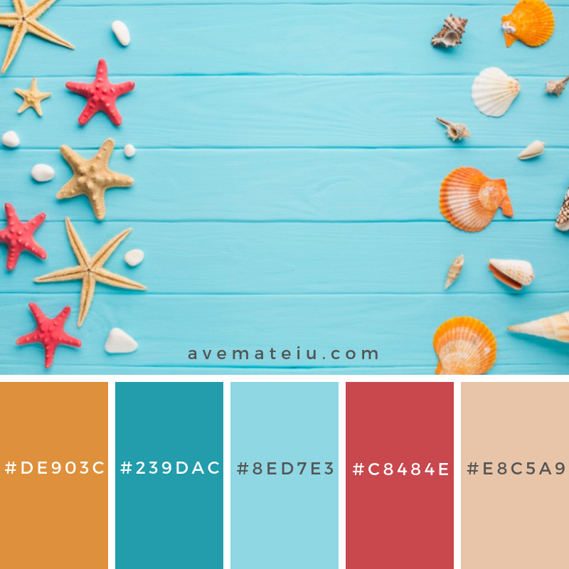 Flat lay starfish and seashells Color Palette #250 - Color combination, Color pallets, Color palettes, Color scheme, Color inspiration, Colour Palettes, Art, Inspiration, Vintage, Bright, Blue, Warm, Dark, Design, Yellow, Green, Grey, Red, Purple, Rustic, Fall, Autumn, Winter, Summer 2019, Nature, Spring, Summer, Flowers, Sunset, Sunrise, Pantone https://avemateiu.com/color-palettes/