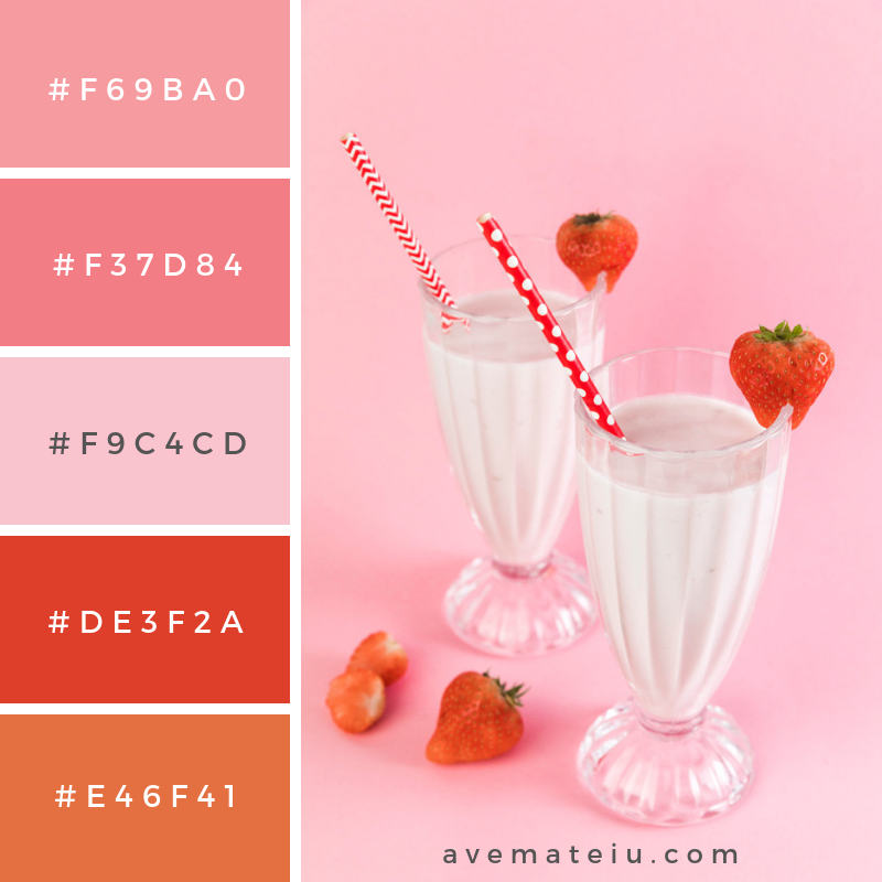 Glasses of strawberry milkshake with pink background Color Palette #251 - Color combination, Color pallets, Color palettes, Color scheme, Color inspiration, Colour Palettes, Art, Inspiration, Vintage, Bright, Blue, Warm, Dark, Design, Yellow, Green, Grey, Red, Purple, Rustic, Fall, Autumn, Winter, Summer 2019, Nature, Spring, Summer, Flowers, Sunset, Sunrise, Pantone https://avemateiu.com/color-palettes/