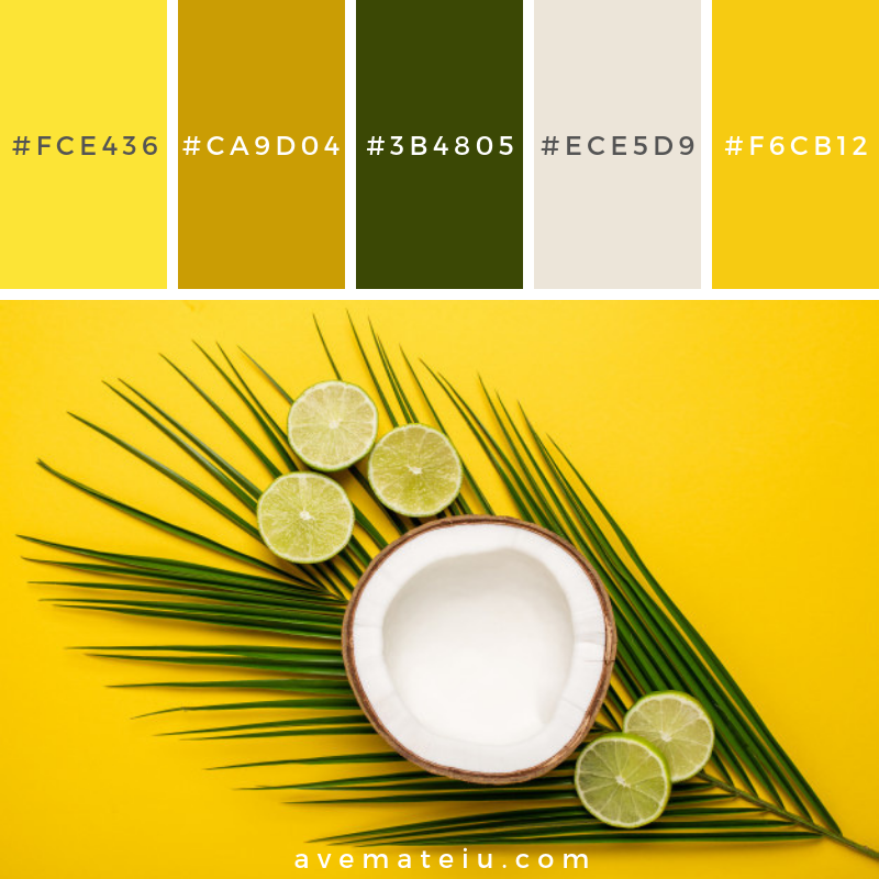 Tropical coconut, palm and lime on a yellow background Color Palette #256 - Color combination, Color pallets, Color palettes, Color scheme, Color inspiration, Colour Palettes, Art, Inspiration, Vintage, Bright, Blue, Warm, Dark, Design, Yellow, Green, Grey, Red, Purple, Rustic, Fall, Autumn, Winter, Summer 2019, Nature, Spring, Summer, Flowers, Sunset, Sunrise, Pantone https://avemateiu.com/color-palettes/