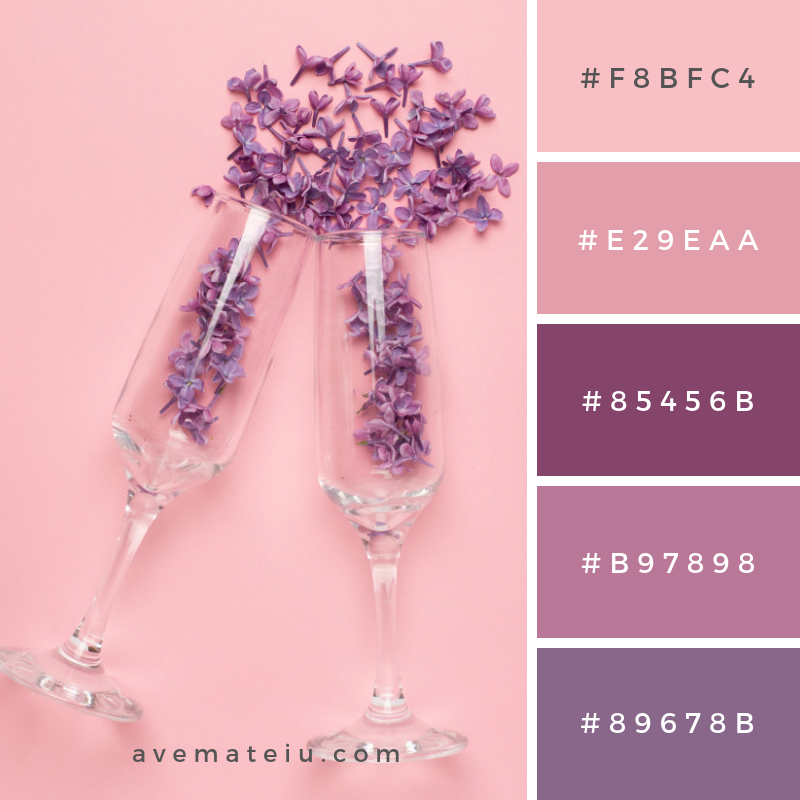 Champagne glasses with lilac flowers on pink color paper minimal style. summer holiday Color Palette #257 - Color combination, Color pallets, Color palettes, Color scheme, Color inspiration, Colour Palettes, Art, Inspiration, Vintage, Bright, Blue, Warm, Dark, Design, Yellow, Green, Grey, Red, Purple, Rustic, Fall, Autumn, Winter, Summer 2019, Nature, Spring, Summer, Flowers, Sunset, Sunrise, Pantone https://avemateiu.com/color-palettes/