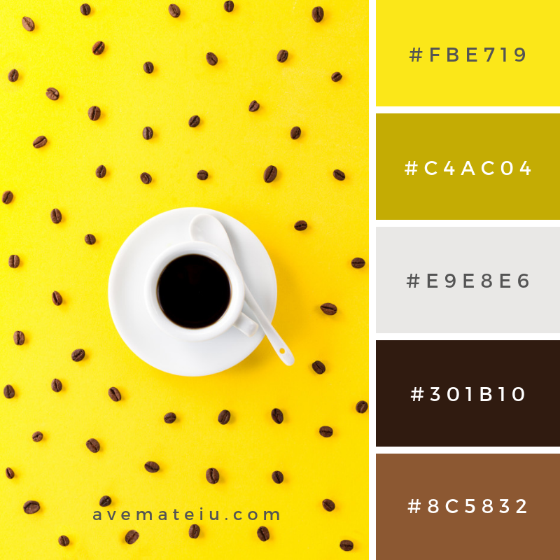 Coffee espresso in small white ceramic cup with many coffee beans on yellow vibrant background Color Palette #261 - Color combination, Color pallets, Color palettes, Color scheme, Color inspiration, Colour Palettes, Art, Inspiration, Vintage, Bright, Blue, Warm, Dark, Design, Yellow, Green, Grey, Red, Purple, Rustic, Fall, Autumn, Winter, Summer 2019, Nature, Spring, Summer, Flowers, Sunset, Sunrise, Pantone https://avemateiu.com/color-palettes/