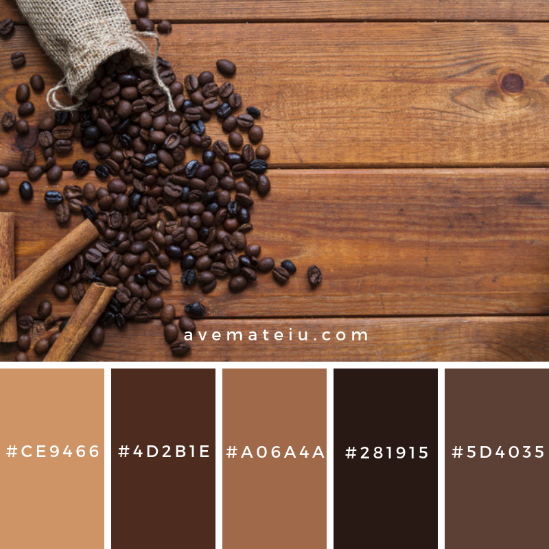 Cinnamon near spilled coffee beans Color Palette #262 - Color combination, Color pallets, Color palettes, Color scheme, Color inspiration, Colour Palettes, Art, Inspiration, Vintage, Bright, Blue, Warm, Dark, Design, Yellow, Green, Grey, Red, Purple, Rustic, Fall, Autumn, Winter, Summer 2019, Nature, Spring, Summer, Flowers, Sunset, Sunrise, Pantone https://avemateiu.com/color-palettes/