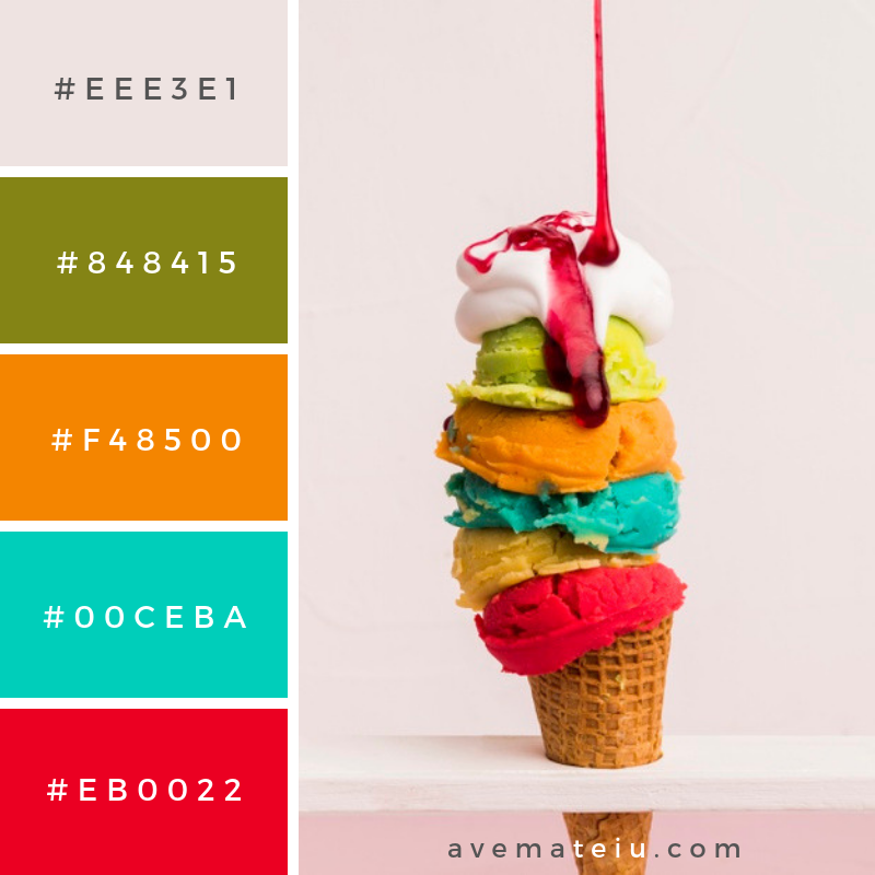 Colorful ice cream tower with syrup Color Palette #263 - Color combination, Color pallets, Color palettes, Color scheme, Color inspiration, Colour Palettes, Art, Inspiration, Vintage, Bright, Blue, Warm, Dark, Design, Yellow, Green, Grey, Red, Purple, Rustic, Fall, Autumn, Winter, Summer 2019, Nature, Spring, Summer, Flowers, Sunset, Sunrise, Pantone https://avemateiu.com/color-palettes/