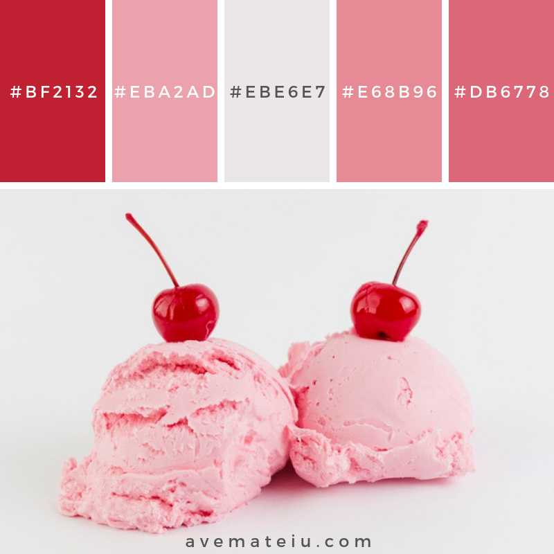 Pink gelato melting balls with cherry above Color Palette #264 - Color combination, Color pallets, Color palettes, Color scheme, Color inspiration, Colour Palettes, Art, Inspiration, Vintage, Bright, Blue, Warm, Dark, Design, Yellow, Green, Grey, Red, Purple, Rustic, Fall, Autumn, Winter, Summer 2019, Nature, Spring, Summer, Flowers, Sunset, Sunrise, Pantone https://avemateiu.com/color-palettes/