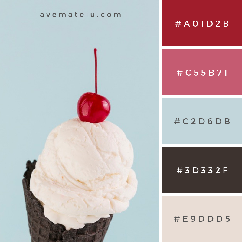 Ice cream in black cone with cherry above Color Palette #265 - Color combination, Color pallets, Color palettes, Color scheme, Color inspiration, Colour Palettes, Art, Inspiration, Vintage, Bright, Blue, Warm, Dark, Design, Yellow, Green, Grey, Red, Purple, Rustic, Fall, Autumn, Winter, Summer 2019, Nature, Spring, Summer, Flowers, Sunset, Sunrise, Pantone https://avemateiu.com/color-palettes/