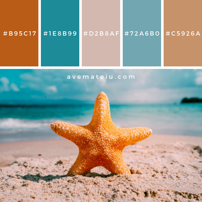 Beach background with starfish Color Palette #268 - Color combination, Color pallets, Color palettes, Color scheme, Color inspiration, Colour Palettes, Art, Inspiration, Vintage, Bright, Blue, Warm, Dark, Design, Yellow, Green, Grey, Red, Purple, Rustic, Fall, Autumn, Winter, Summer 2019, Nature, Spring, Summer, Flowers, Sunset, Sunrise, Pantone https://avemateiu.com/color-palettes/