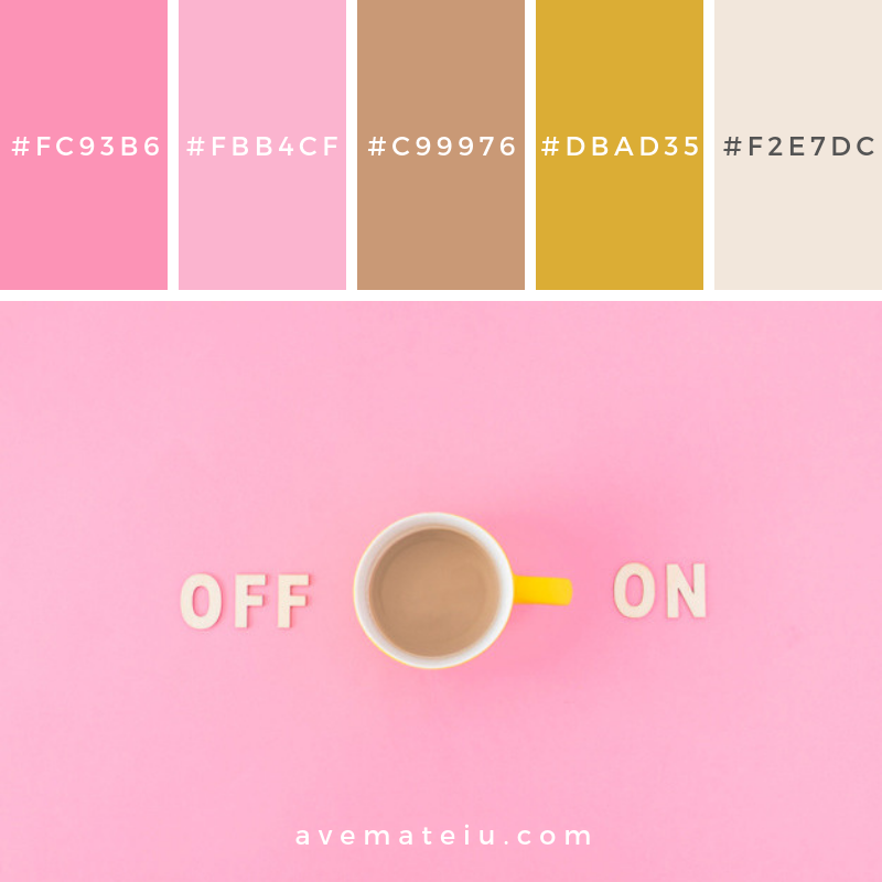 Coffee cup near off and on writings Color Palette #272 - Color combination, Color pallets, Color palettes, Color scheme, Color inspiration, Colour Palettes, Art, Inspiration, Vintage, Bright, Blue, Warm, Dark, Design, Yellow, Green, Grey, Red, Purple, Rustic, Fall, Autumn, Winter, Summer 2019, Nature, Spring, Summer, Flowers, Sunset, Sunrise, Pantone https://avemateiu.com/color-palettes/