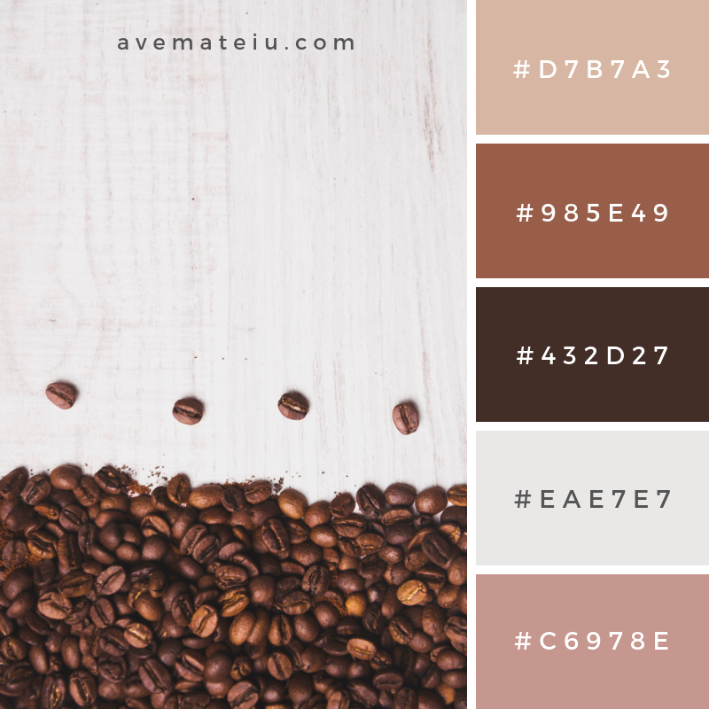 Coffee beans composition on white background Color Palette #273 - Color combination, Color pallets, Color palettes, Color scheme, Color inspiration, Colour Palettes, Art, Inspiration, Vintage, Bright, Blue, Warm, Dark, Design, Yellow, Green, Grey, Red, Purple, Rustic, Fall, Autumn, Winter, Summer 2019, Nature, Spring, Summer, Flowers, Sunset, Sunrise, Pantone https://avemateiu.com/color-palettes/