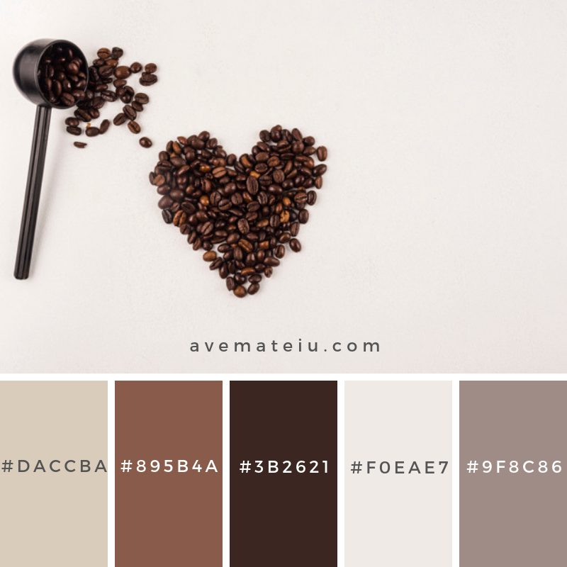 Coffee beans Color Palette #274 - Color combination, Color pallets, Color palettes, Color scheme, Color inspiration, Colour Palettes, Art, Inspiration, Vintage, Bright, Blue, Warm, Dark, Design, Yellow, Green, Grey, Red, Purple, Rustic, Fall, Autumn, Winter, Summer 2019, Nature, Spring, Summer, Flowers, Sunset, Sunrise, Pantone https://avemateiu.com/color-palettes/