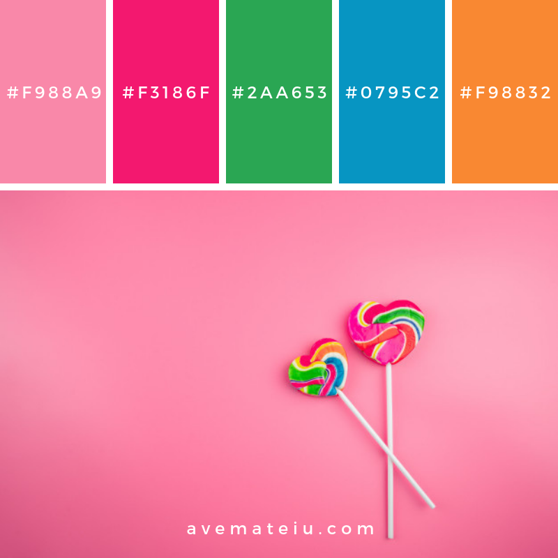 Multi Colored lollipops on a pink background Color Palette #276 - Color combination, Color pallets, Color palettes, Color scheme, Color inspiration, Colour Palettes, Art, Inspiration, Vintage, Bright, Blue, Warm, Dark, Design, Yellow, Green, Grey, Red, Purple, Rustic, Fall, Autumn, Winter, Summer 2019, Nature, Spring, Summer, Flowers, Sunset, Sunrise, Pantone https://avemateiu.com/color-palettes/