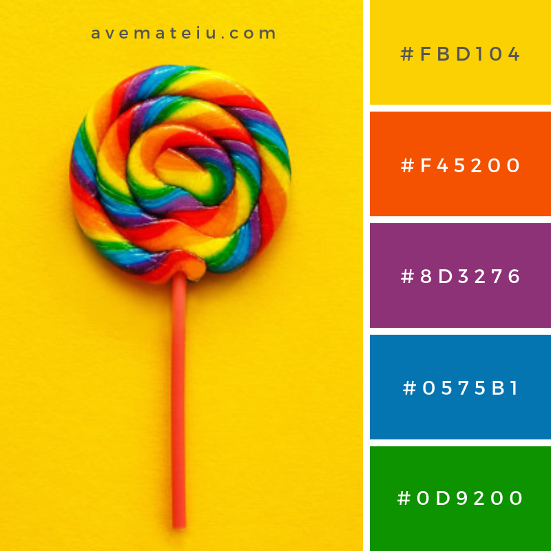 Multi Colored lollipop Color Palette #277 - Color combination, Color pallets, Color palettes, Color scheme, Color inspiration, Colour Palettes, Art, Inspiration, Vintage, Bright, Blue, Warm, Dark, Design, Yellow, Green, Grey, Red, Purple, Rustic, Fall, Autumn, Winter, Summer 2019, Nature, Spring, Summer, Flowers, Sunset, Sunrise, Pantone https://avemateiu.com/color-palettes/