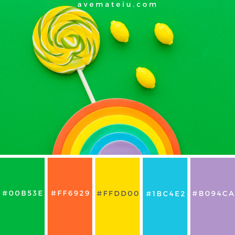 Rainbow near lollipop and lemon candies on green background Color Palette #278 - Color combination, Color pallets, Color palettes, Color scheme, Color inspiration, Colour Palettes, Art, Inspiration, Vintage, Bright, Blue, Warm, Dark, Design, Yellow, Green, Grey, Red, Purple, Rustic, Fall, Autumn, Winter, Summer 2019, Nature, Spring, Summer, Flowers, Sunset, Sunrise, Pantone https://avemateiu.com/color-palettes/