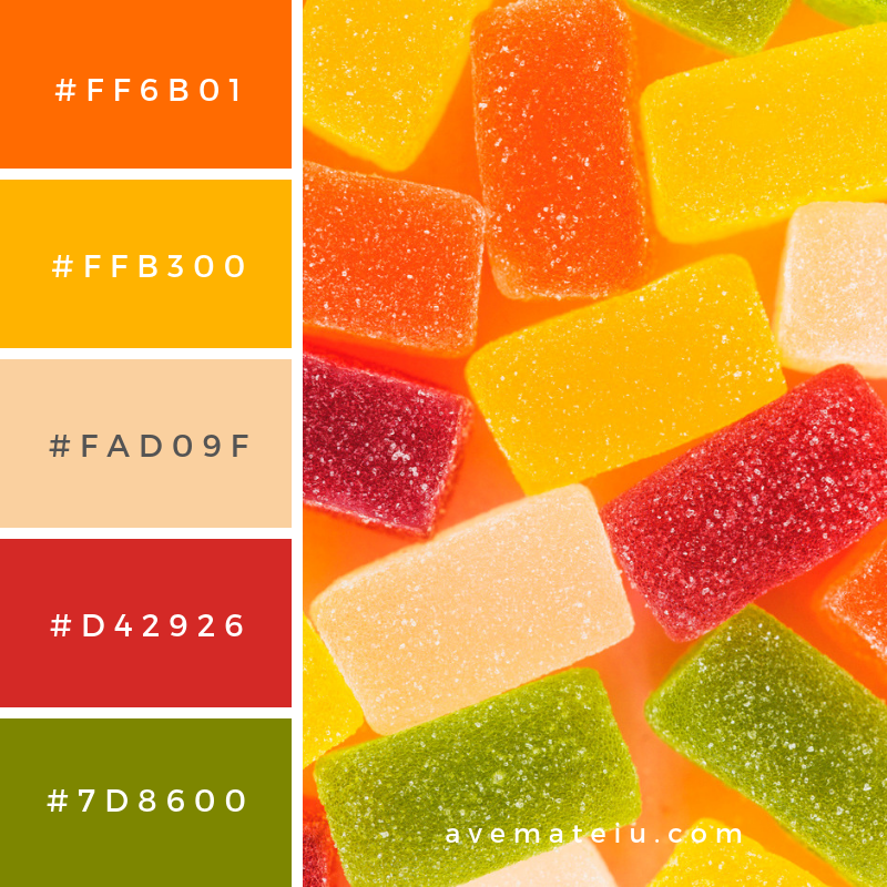 Extreme close-up of sweet jelly candies Color Palette #279 - Color combination, Color pallets, Color palettes, Color scheme, Color inspiration, Colour Palettes, Art, Inspiration, Vintage, Bright, Blue, Warm, Dark, Design, Yellow, Green, Grey, Red, Purple, Rustic, Fall, Autumn, Winter, Summer 2019, Nature, Spring, Summer, Flowers, Sunset, Sunrise, Pantone https://avemateiu.com/color-palettes/