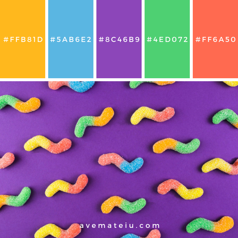 Elevated view of gummy worm candies on purple background Color Palette #280 - Color combination, Color pallets, Color palettes, Color scheme, Color inspiration, Colour Palettes, Art, Inspiration, Vintage, Bright, Blue, Warm, Dark, Design, Yellow, Green, Grey, Red, Purple, Rustic, Fall, Autumn, Winter, Summer 2019, Nature, Spring, Summer, Flowers, Sunset, Sunrise, Pantone https://avemateiu.com/color-palettes/