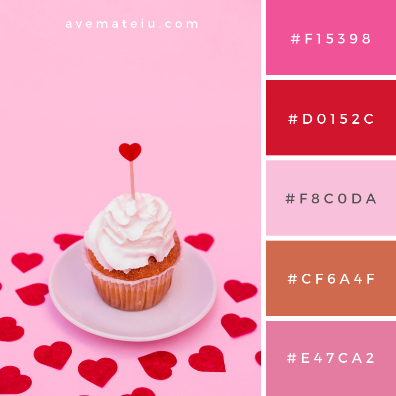Tasty cake with whip between decorative hearts Color Palette #281 - Color combination, Color pallets, Color palettes, Color scheme, Color inspiration, Colour Palettes, Art, Inspiration, Vintage, Bright, Blue, Warm, Dark, Design, Yellow, Green, Grey, Red, Purple, Rustic, Fall, Autumn, Winter, Summer 2019, Nature, Spring, Summer, Flowers, Sunset, Sunrise, Pantone https://avemateiu.com/color-palettes/