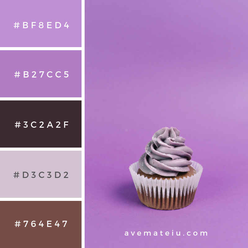 Muffin on violet background Color Palette #283 - Color combination, Color pallets, Color palettes, Color scheme, Color inspiration, Colour Palettes, Art, Inspiration, Vintage, Bright, Blue, Warm, Dark, Design, Yellow, Green, Grey, Red, Purple, Rustic, Fall, Autumn, Winter, Summer 2019, Nature, Spring, Summer, Flowers, Sunset, Sunrise, Pantone https://avemateiu.com/color-palettes/