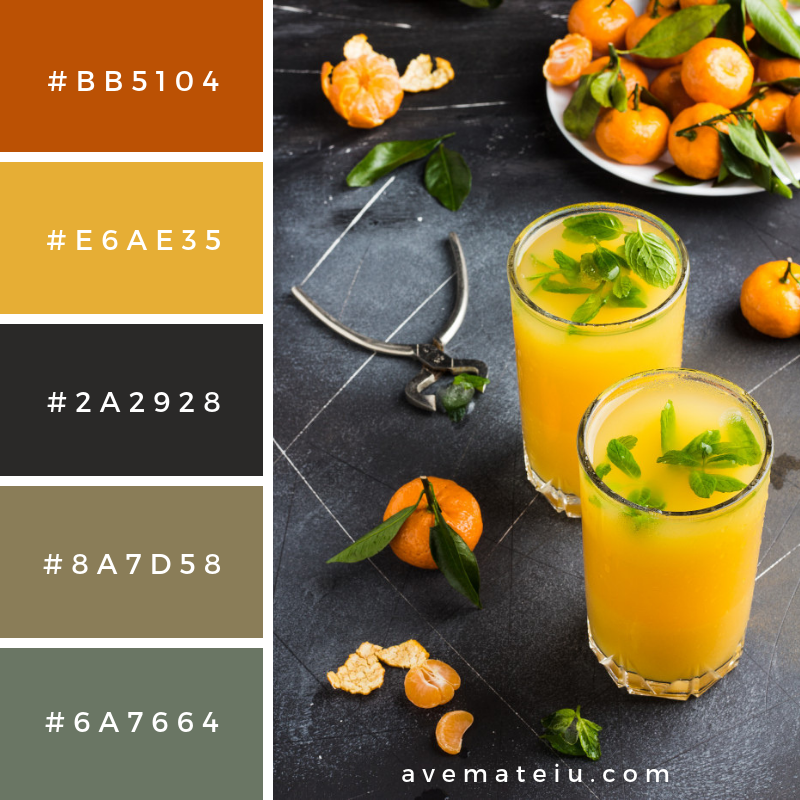 Tangerine juice in glasses on dark Color Palette #287 - Color combination, Color pallets, Color palettes, Color scheme, Color inspiration, Colour Palettes, Art, Inspiration, Vintage, Bright, Blue, Warm, Dark, Design, Yellow, Green, Grey, Red, Purple, Rustic, Fall, Autumn, Winter, Summer 2019, Nature, Spring, Summer, Flowers, Sunset, Sunrise, Pantone https://avemateiu.com/color-palettes/