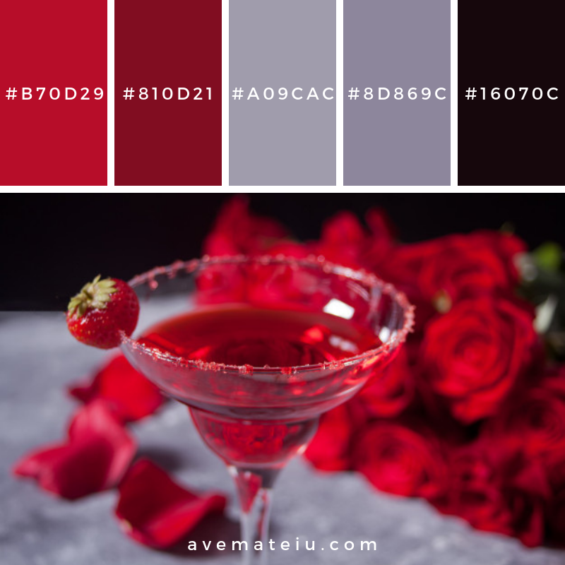 Red exotic alcoholic cocktail in clear glass Color Palette #288 - Color combination, Color pallets, Color palettes, Color scheme, Color inspiration, Colour Palettes, Art, Inspiration, Vintage, Bright, Blue, Warm, Dark, Design, Yellow, Green, Grey, Red, Purple, Rustic, Fall, Autumn, Winter, Summer 2019, Nature, Spring, Summer, Flowers, Sunset, Sunrise, Pantone https://avemateiu.com/color-palettes/