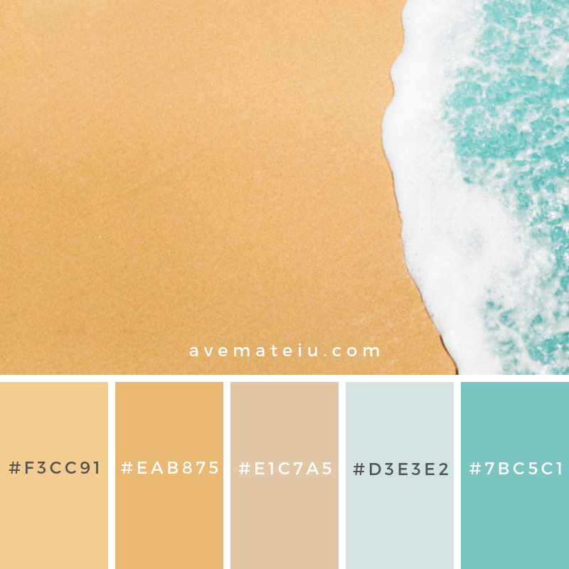 Beach background with waves and copyspace Color Palette #290 - Color combination, Color pallets, Color palettes, Color scheme, Color inspiration, Colour Palettes, Art, Inspiration, Vintage, Bright, Blue, Warm, Dark, Design, Yellow, Green, Grey, Red, Purple, Rustic, Fall, Autumn, Winter, Summer 2019, Nature, Spring, Summer, Flowers, Sunset, Sunrise, Pantone https://avemateiu.com/color-palettes/