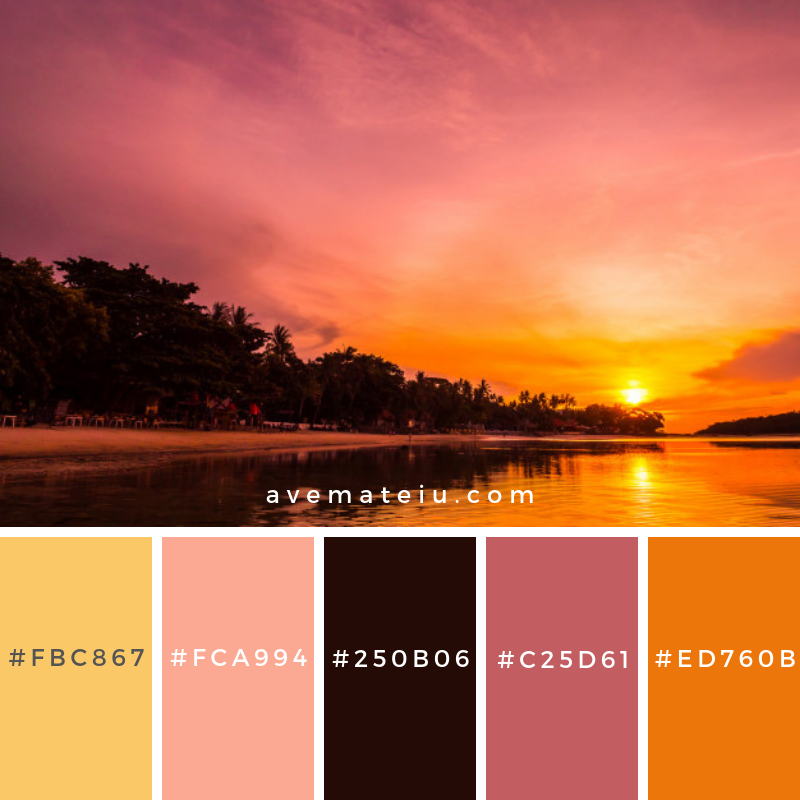 Beautiful tropical beach sea and ocean with coconut palm tree at sunrise time Color Palette #294 - Color combination, Color pallets, Color palettes, Color scheme, Color inspiration, Colour Palettes, Art, Inspiration, Vintage, Bright, Blue, Warm, Dark, Design, Yellow, Green, Grey, Red, Purple, Rustic, Fall, Autumn, Winter, Summer 2019, Nature, Spring, Summer, Flowers, Sunset, Sunrise, Pantone https://avemateiu.com/color-palettes/