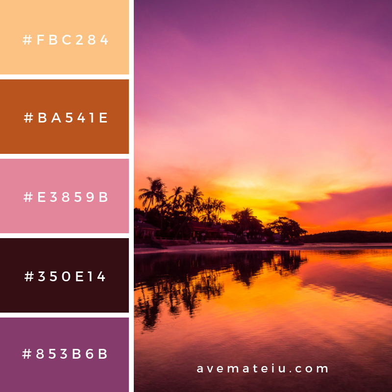 Beautiful tropical beach sea and ocean with coconut palm tree at sunrise time Color Palette #295 - Color combination, Color pallets, Color palettes, Color scheme, Color inspiration, Colour Palettes, Art, Inspiration, Vintage, Bright, Blue, Warm, Dark, Design, Yellow, Green, Grey, Red, Purple, Rustic, Fall, Autumn, Winter, Summer 2019, Nature, Spring, Summer, Flowers, Sunset, Sunrise, Pantone https://avemateiu.com/color-palettes/