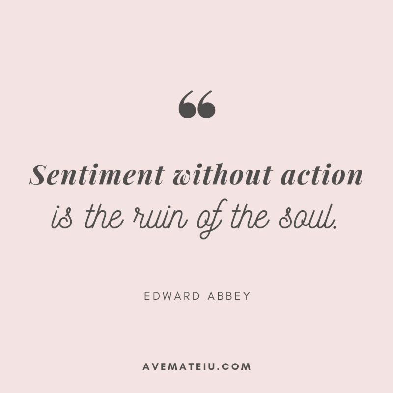 Sentiment without action is the ruin of the soul. - Edward Abbey Quote 349 - Motivational Quotes, Deep Quotes, Love Quotes, To live by Quotes, Inspirational Quotes, Positive Quotes, About Strength Quotes, Life Quotes, Confidence Quotes, Happy Quotes, Success Quotes, Faith Quotes, Encouragement Quotes, Wisdom Quotes https://avemateiu.com/quotes/