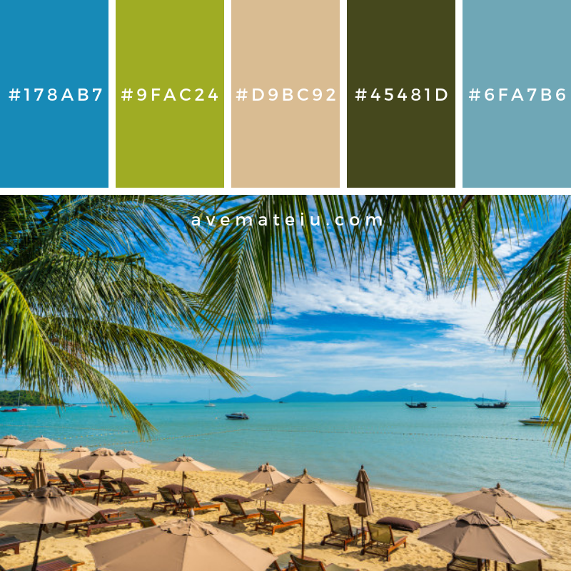 Beautiful tropical beach sea and ocean with coconut palm tree and umbrella and chair on blue sky Color Palette #304 - Color combination, Color pallets, Color palettes, Color scheme, Color inspiration, Colour Palettes, Art, Inspiration, Vintage, Bright, Blue, Warm, Dark, Design, Yellow, Green, Grey, Red, Purple, Rustic, Fall, Autumn, Winter, Summer 2019, Nature, Spring, Summer, Flowers, Sunset, Sunrise, Pantone https://avemateiu.com/color-palettes/