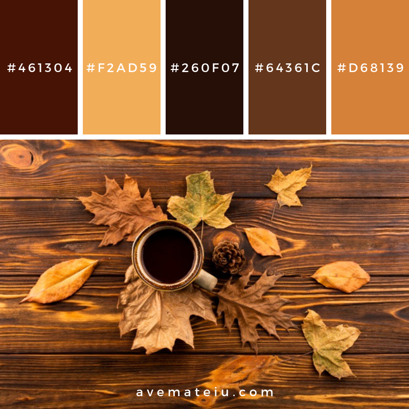 Coffee and leaves on wooden background Color Palette #308 - Color combination, Color pallets, Color palettes, Color scheme, Color inspiration, Colour Palettes, Art, Inspiration, Vintage, Bright, Blue, Warm, Dark, Design, Yellow, Green, Grey, Red, Purple, Rustic, Fall, Autumn, Winter, Summer 2019, Nature, Spring, Summer, Flowers, Sunset, Sunrise, Pantone https://avemateiu.com/color-palettes/