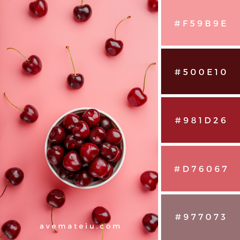 Cherry berry on pink background Color Palette #309 - Color combination, Color pallets, Color palettes, Color scheme, Color inspiration, Colour Palettes, Art, Inspiration, Vintage, Bright, Blue, Warm, Dark, Design, Yellow, Green, Grey, Red, Purple, Rustic, Fall, Autumn, Winter, Summer 2019, Nature, Spring, Summer, Flowers, Sunset, Sunrise, Pantone https://avemateiu.com/color-palettes/