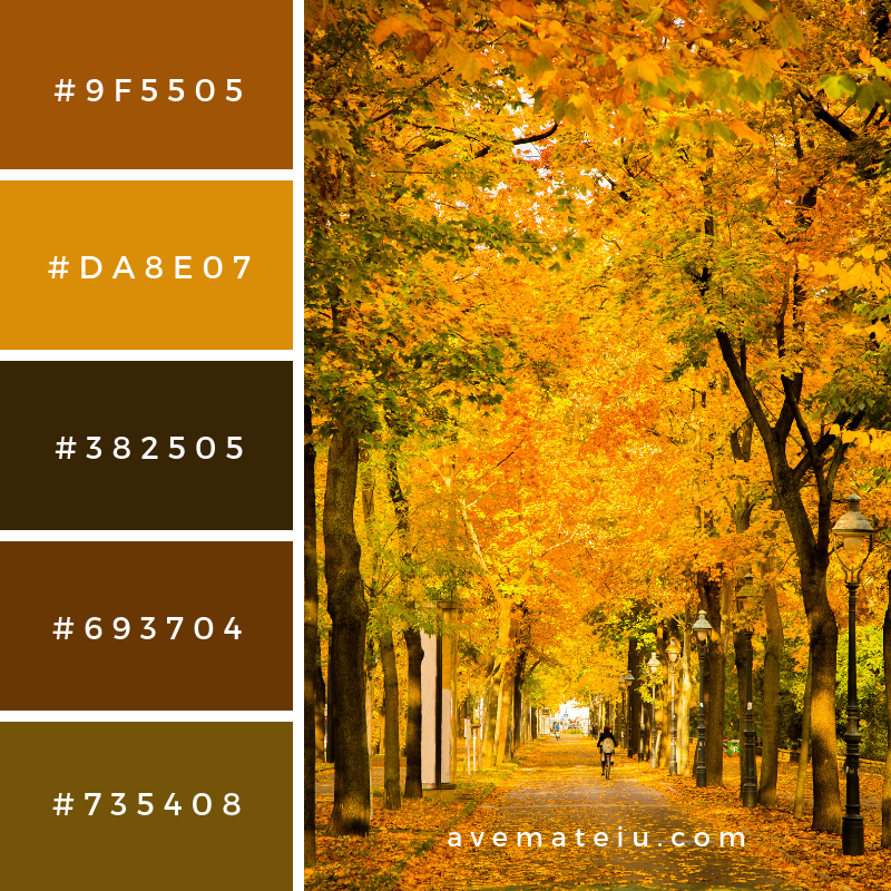 Autumnal scene Color Palette #323 - Color combination, Color pallets, Color palettes, Color scheme, Color inspiration, Colour Palettes, Art, Inspiration, Vintage, Bright, Blue, Warm, Dark, Design, Yellow, Green, Grey, Red, Purple, Rustic, Fall, Autumn, Winter, Summer 2019, Nature, Spring, Summer, Flowers, Sunset, Sunrise, Pantone https://avemateiu.com/color-palettes/