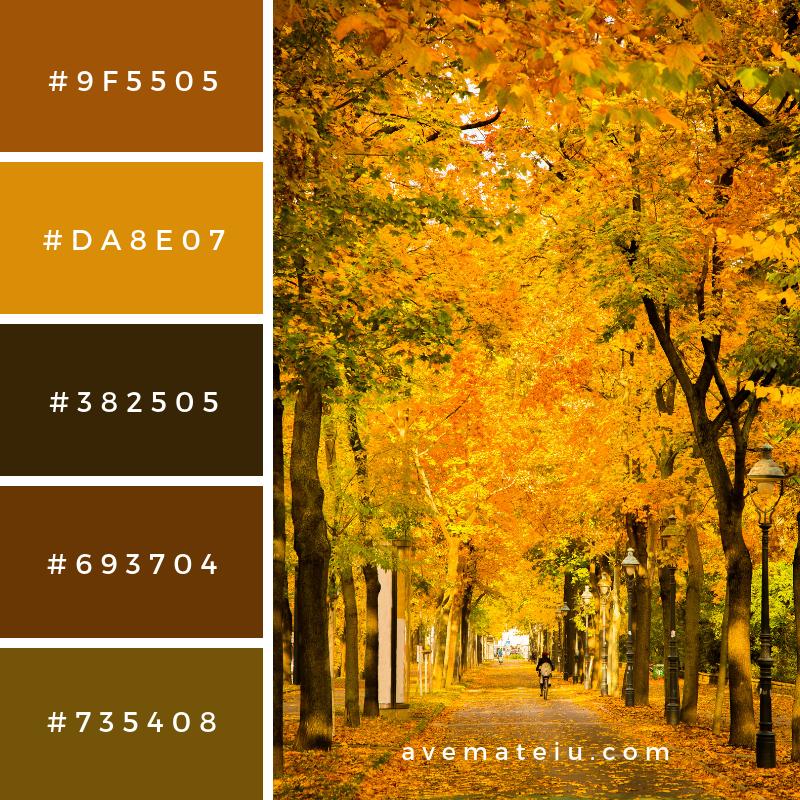 Autumnal scene Color Palette #323 - Color combination, Color pallets, Color palettes, Color scheme, Color inspiration, Colour Palettes, Art, Inspiration, Vintage, Bright, Blue, Warm, Dark, Design, Yellow, Green, Grey, Red, Purple, Rustic, Fall, Autumn, Winter, Summer 2019, Nature, Spring, Summer, Flowers, Sunset, Sunrise, Pantone https://avemateiu.com/color-palettes/